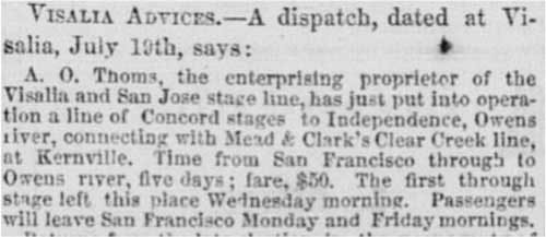 "Sacramento Daily Union of Jul 23, 1866 mentioning ""Mead & Clark's Clear Creek line"""