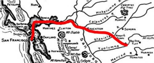 Map of route from San Francisco to Tuolumne County