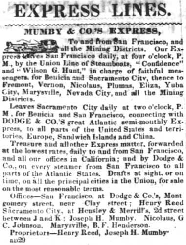 May 14, 1851 Sacramento Transcript advertisement for Mumby & Co's Express