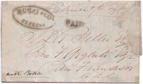 Mumby & Co's Express with their PAID on folded letter datelined Sacramento 12 May 1851 to San Francisco