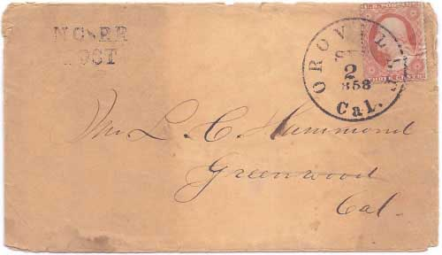 "Noisy Carriers with their NC~RR POST (""Noisy Carriers River Route Post"") hand stamp from Sacramento to San Francisco"