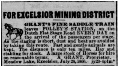 Daily Alta California newspaper ad (Jul 26, 1866) for Grant's Fine Saddle Train