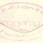Merchant's handstamp from Greenville on verso, shown