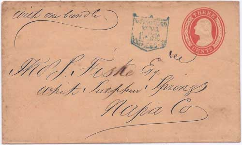 Pacific Express Co. blue shield handstamp (ca1856) to White Sulphur Springs