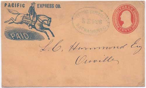 Pacific Express Co. Sacramento Sep 26 (ca1855) to Oroville