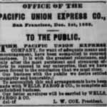 Dec 30, 1869 advertisement in the Daily Alta California announcing Pacific Union Express Co.'s closure.