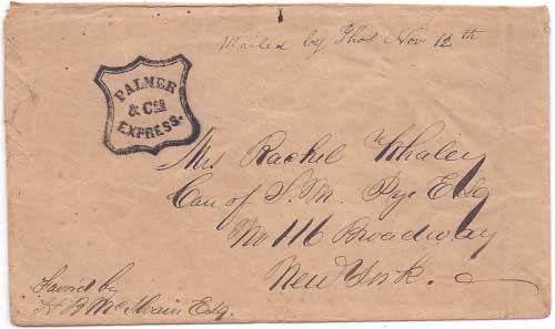 Palmer & Cos Express Nov 12, 1850 from San Francisco to New York