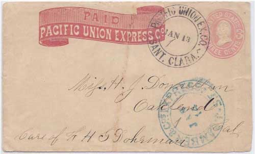 Pacific Union Ex. Co. Sant. Clara Jan 13 (1869) to San Francisco