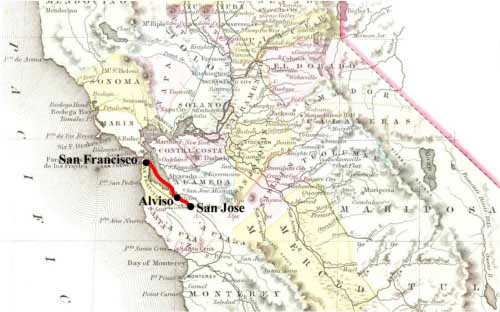 Palmer & Co.'s Express route from San Francisco to San Jose by steamer and land.