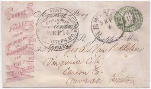 Pony Express Central Overland California and Pikes Peak Express Company St. Joseph Mo. Sep 12 in franked envelope