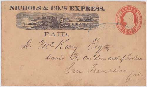 Nichols & Co.'s Express PAID printed frank with Nichols & Co.'s Express Northern Coast handstamp into San Francisco