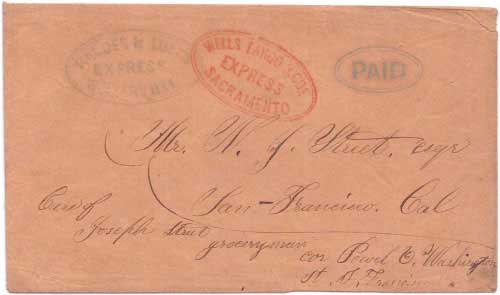 Rhodes & Lusk's Express Weaverville with their PAID in oval handstamp to Sacramento
