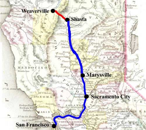 Map of Gregory's Express to Shasta in blue, Rhodes & Lusk's Express to Weaverville in red