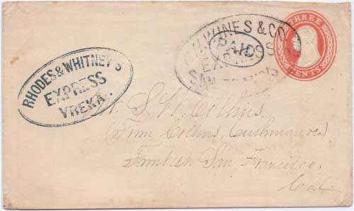 Rhodes & Whitney's Express Yreka with oval PAID handstamp to Sacramento