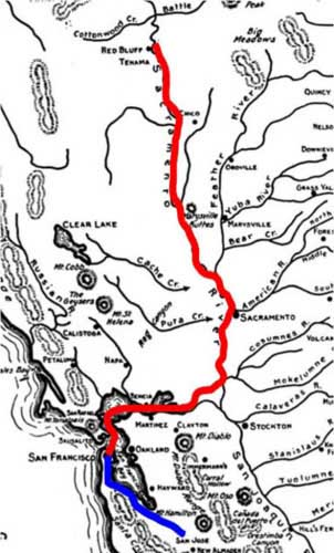 Map of Sacramento River Express route from Red Bluff to San Francisco then by US post office to San Jose