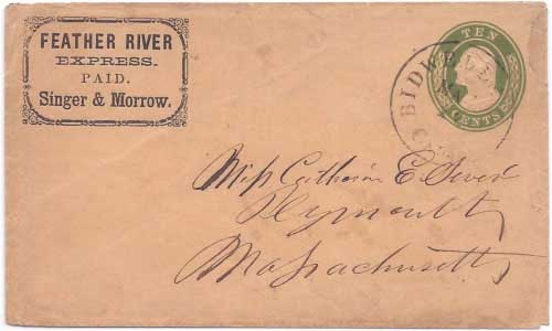 Feather River Express PAID Singer & Morrow franked entire from the mining camps of the Feather River to Bidwell's bar