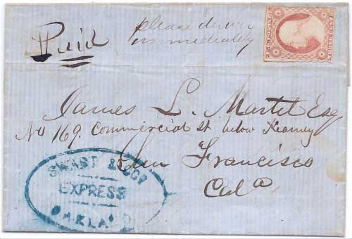 Swart & Cos. Express Oakland from Union City Nov 22nd 1854 to San Francisco.