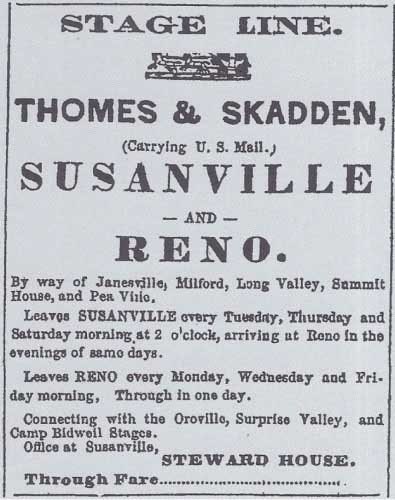 Early ad for Thomes & Skadden's Stage Line in the Lassen Sage Brush Aug 20, 1870