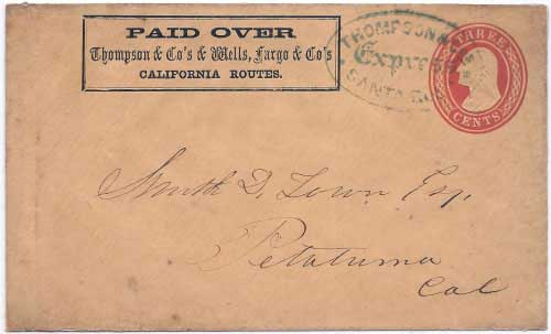 Thompson & Co.'s Express Santa Rosa to Petaluma in their printed frank envelope