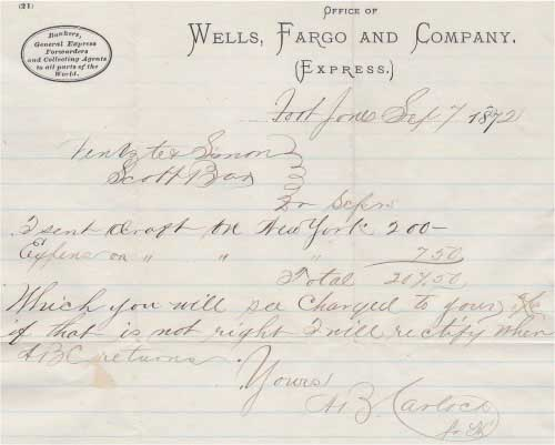 Business letter datelined Fort Jones Sep 7, 1872