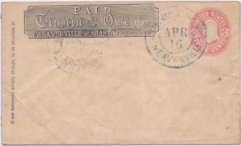 Tinnin & Owens Weaverville Apr 16 (1868) in their printed franked envelope to an unidentified destination