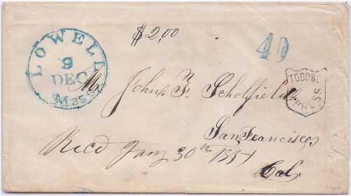 Todd & Co Express with $2.00 express fee from San Francisco to the recipient who docketed the letter Recd Jany 30th 1851.