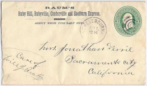 Raum's Ruby Hills, Centerville, and Schelburn Express to Schellbourne, Nevada