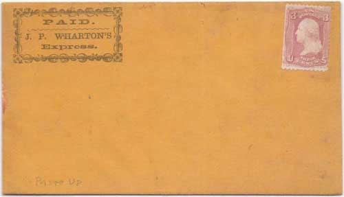J. P. Wharton's Express in their printed franked envelope