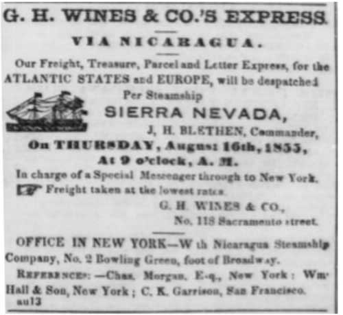 Earliest ad for G. H. Wines & Co.'s Express from the Daily Alta California of Aug 13, 1855.
