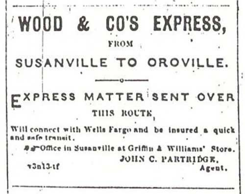 Copy of advertisement from the Susanville Lassen Sagebrush from the spring of 1868 for Wood & Co.'s Express.