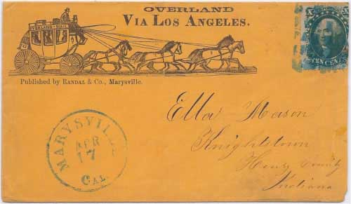 The six-horse coach variety of printed overland envelope is considerably more scarce than the four-horse type.
