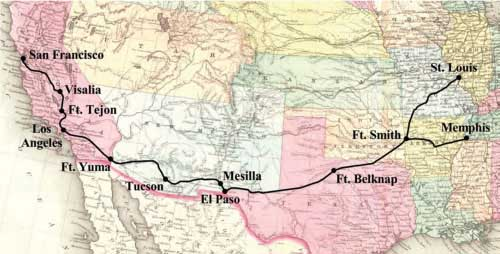 Map of the Butterfield Overland Mail route