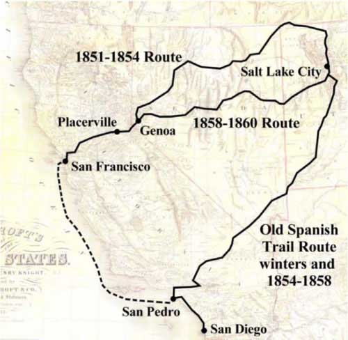 Map of Old Spanish Trail Route winters and 1854-1858