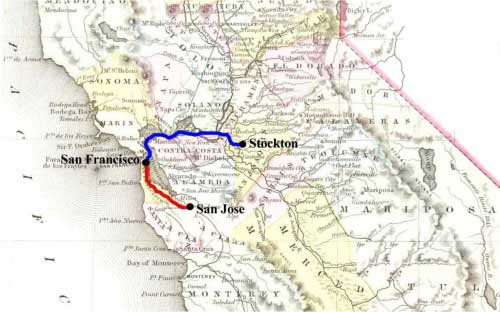 Map of Todd & Co's Express route in blue, Berford & Co.'s Express land route in red.