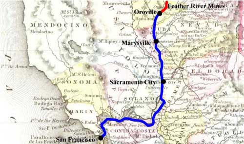 Map of route from San Francisco to the Feather River Mines Vera's express route shown in red, Wells Fargo & Co. carriage in blue