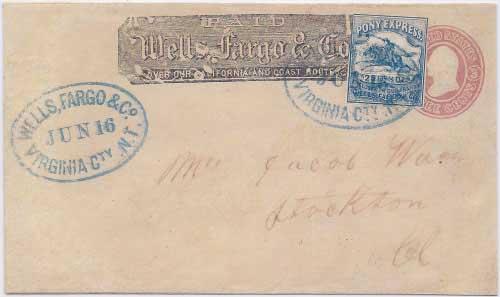 Wells, Fargo & Co. Virginia City, N. T. Jun 16 (1863) to Stockton