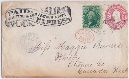 PAID Whiting & Co.'s Feather River Express from Cresecent O. M. Co. Indian Valley Jan 15, 1866 to Quincy