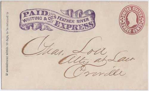 PAID Whiting & Co.'s Feather River Express to Oroville, California
