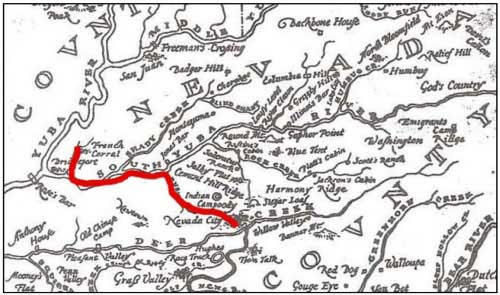 Map showing location of French Corral, near the confluence of the Yuba and South Yuba Rivers, and Nevada City, near Deer Creek.