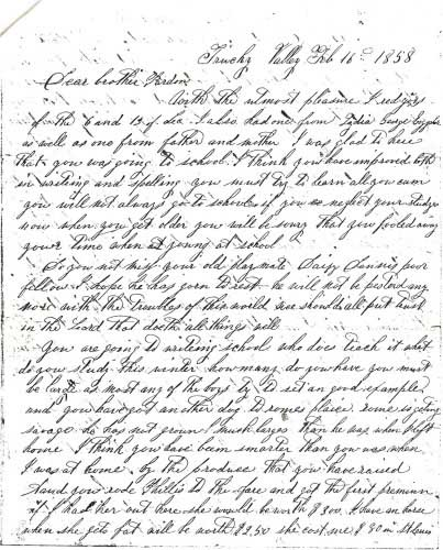 Letter Carried by Snowshoe Thompson over the Sierras