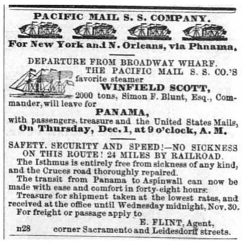 Sacramento Daily Union ad from Dec 1, 1853