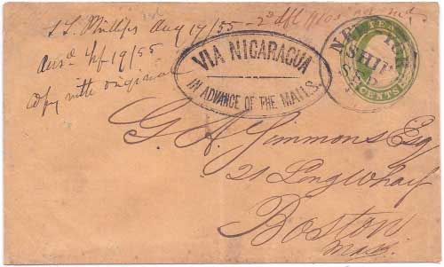 From San Francisco Via Nicaragua In Advance of the Mails to New York SHIP Sep 8 (1855) and by post office on to Boston.