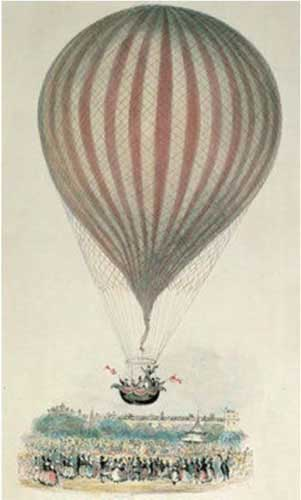 The illustration shows a typical 1850's balloon ascent.
