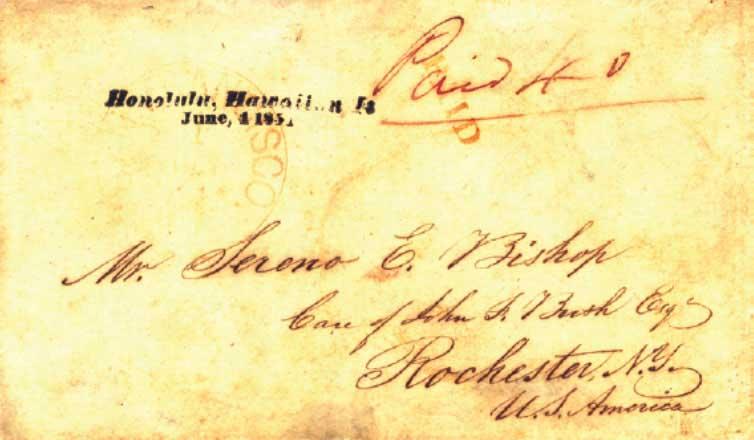 Honolulu June 4, 1851, prepaid 40c, postmarked in SF July 1
