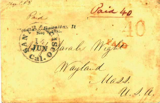 May 8, 1851 Honolulu and postmarked June 14 at SF where handstamp 40 was applied