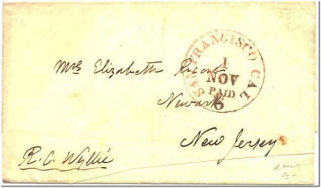"Sep 1851 cover from Hawaii, SF ""PAID 6"" CDS, postmarked on Nov 1"