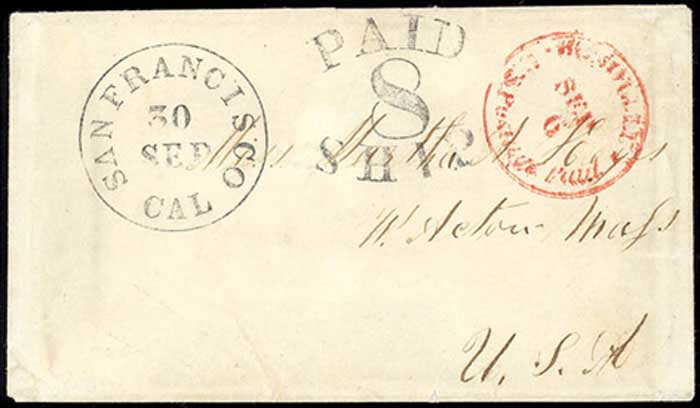 Honolulu, U.S. Postage Paid, Sep 6, on cover to Mass. (1853)