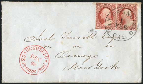 Honolulu U.S. Postage Paid Mar. 15 CDS on 1856 cover to Bedford, Mass.