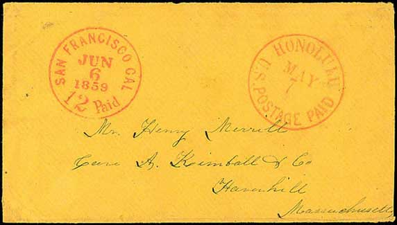 Hawaii, Honolulu, U.S. Postage Paid, May 7, 1859 to Mass