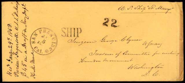 "Dec 1, 1857 letter dateline from Honolulu with ""U.S. Ship St Marys"" and postmarked Jan 5, 1858 at SF where handstamp 22 and SHIP was applied"